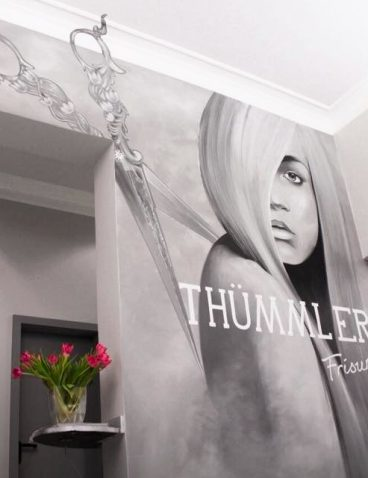 Wandmalerei für einen Friseursalon