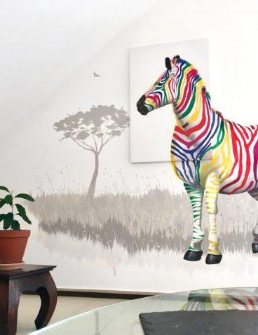 Leinwand trifft Wandmalerei mit Zebra