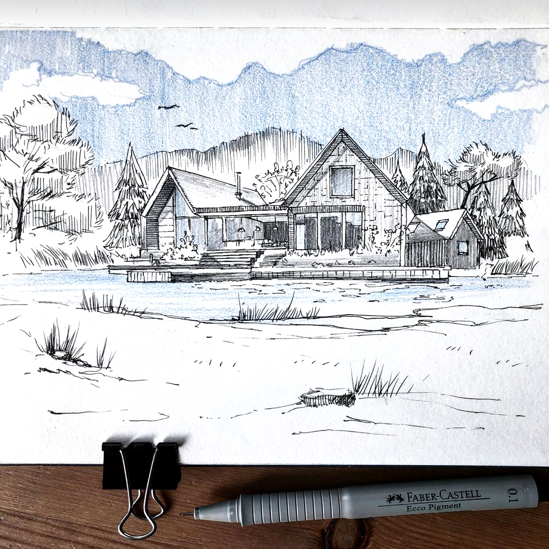 Skizze mit Architektur